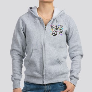 Peace symbols and flowers pat Women's Zip Hoodie