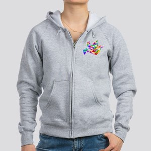 Rainbow Dove of Hearts Women's Zip Hoodie