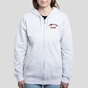 I Love My Son Kaden Women's Zip Hoodie