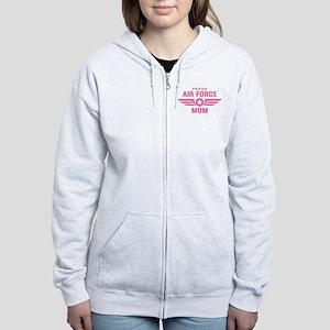 Proud Air Force Mom W [pink] Women's Zip Hoodie