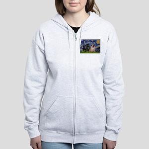 Starry Night & Pug Pair Women's Zip Hoodie