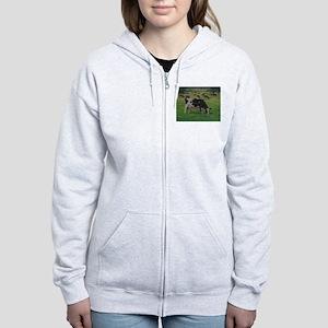 Holstein Milk Cow in Pasture Women's Zip Hoodie
