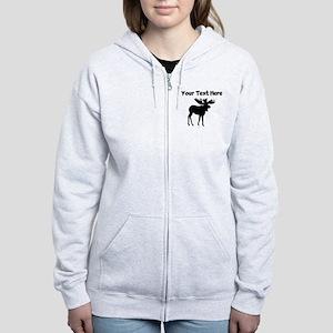 Custom Moose Silhouette Zip Hoodie