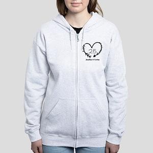 Custom Anniversary Doodle Heart Women's Zip Hoodie