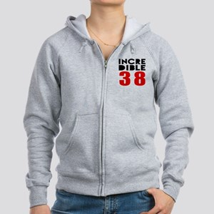 Incredibla 38 Birthday Women's Zip Hoodie