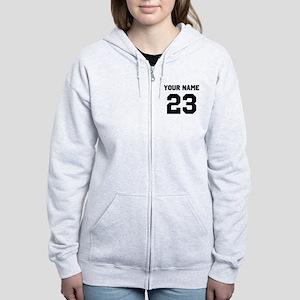 Customize sports jersey number Women's Zip Hoodie