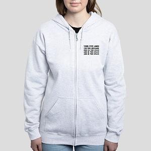 Five Lines Text Customized Women's Zip Hoodie