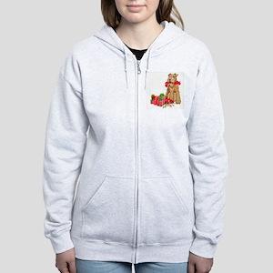 Airedale Terrier Christmas Women's Zip Hoodie