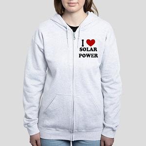 I Heart Solar Power Women's Zip Hoodie