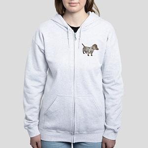 Speckled Dachshund Dog Women's Zip Hoodie