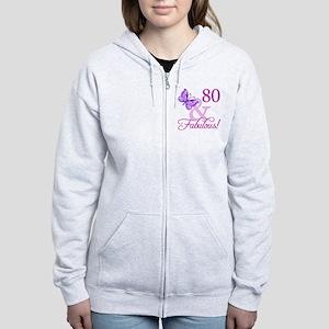 80 & Fabulous (Plumb) Women's Zip Hoodie