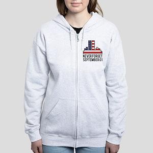 9 11 Never Forget Women's Zip Hoodie