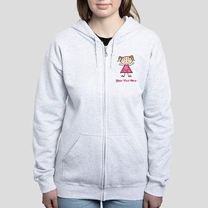 Pink Stick Figure Girl Women's Zip Hoodie