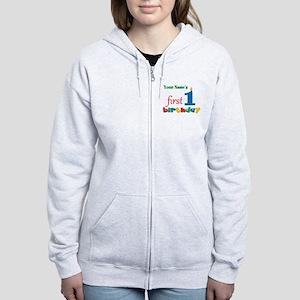 First Birthday - Personalized Women's Zip Hoodie