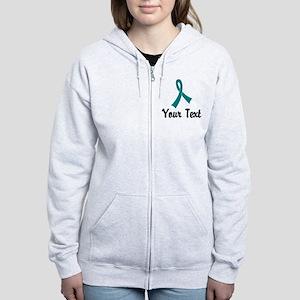 Personalized Teal Ribbon Awaren Women's Zip Hoodie