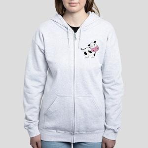 Cute Black and White Cow Zip Hoodie