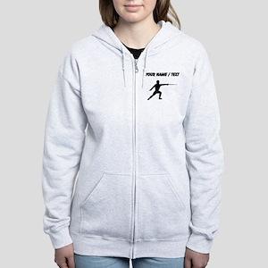 Custom Fencer Silhouette Zip Hoodie