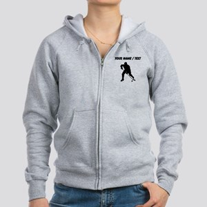 Custom Hockey Player Silhouette Zip Hoodie
