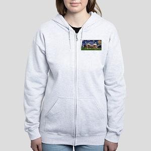 Starry / 2 Affenpinschers Women's Zip Hoodie