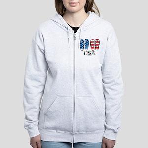 USA Flip Flops Women's Zip Hoodie