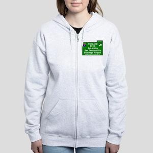 I5 INTERSTATE EXIT SIGN - CALIF Women's Zip Hoodie