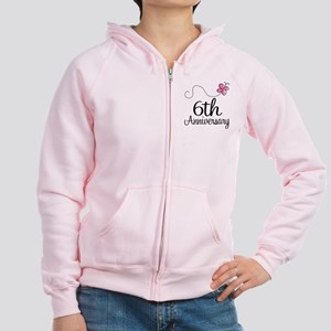 6th Anniversary Gift Butterfly Women's Zip Hoodie