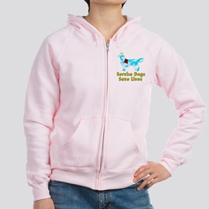 Service Dogs Save Lives Women's Zip Hoodie