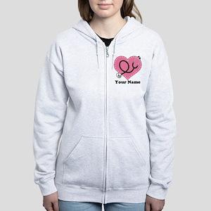 e90738c26036d Personalized Nurse Heart Women's Zip Hoodie