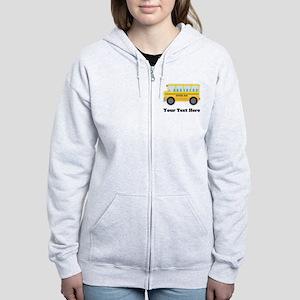 School Bus Personalized Women's Zip Hoodie