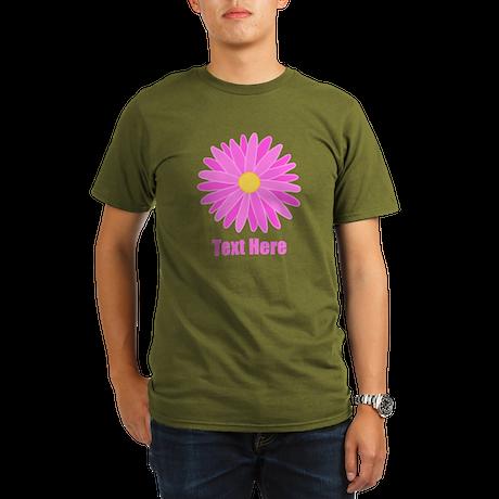 Pink Flower with Text. Organic Men's T-Shirt (dark