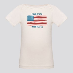 [Your Text] 'Handmade' US Flag Organic Baby T-Shir
