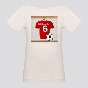 Red Customizable Soccer footb Organic Baby T-Shirt