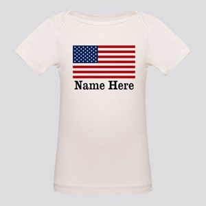 Personalized American Flag Organic Baby T-Shirt