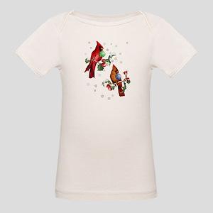 Two Christmas Birds Organic Baby T-Shirt