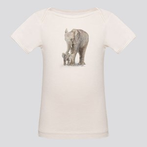 Mother and baby elephant Organic Baby T-Shirt