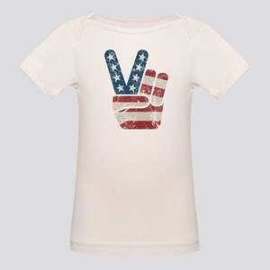 Peace Sign USA Vintage Organic Baby T-Shirt