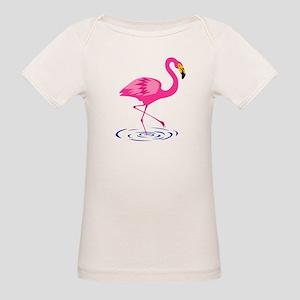 Pink Flamingo on One Leg Organic Baby T-Shirt