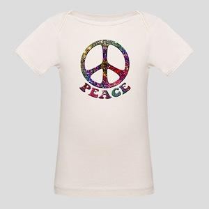 Jewelled Peace Symbol Organic Baby T-Shirt