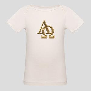 """3-D"" Golden Alpha and Omega Symbol Organic Baby T"