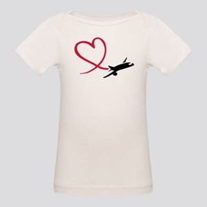 Airplane red heart Organic Baby T-Shirt