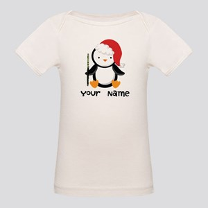 Personalized Flute Penguin Organic Baby T-Shirt