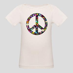 Hippie Flowery Peace Sign Organic Baby T-Shirt