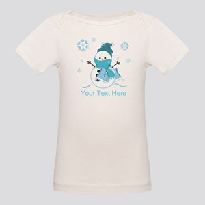 Cute Personalized Snowman Organic Baby T-Shirt