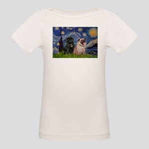 Starry Night & Pug Pair Organic Baby T-Shirt