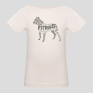 Pit Bull Word Art Greyscale Organic Baby T-Shirt