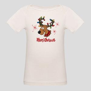 Merry Christmas Reindeer Organic Baby T-Shirt
