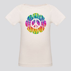 Colorful Peace Flower Organic Baby T-Shirt