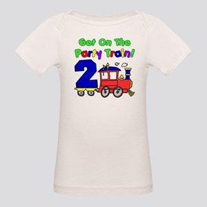 Party Train Two Year Old Organic Baby T-Shirt