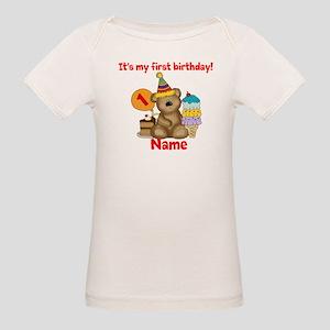 First Birthday Bear Organic Baby T-Shirt