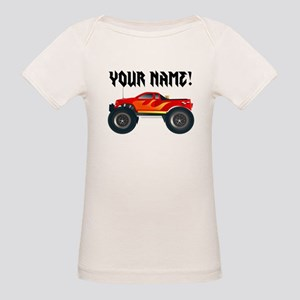 Red Monster Truck Personalized Organic Baby T-Shir